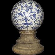 19th Century Victorian Porcelain Orb & Cement Pottery Garden Ornament