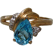 10K Gold, Blue Topaz, and Diamond Ring