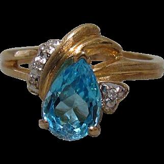10K Gold, Blue Topaz, and Diamond Ring