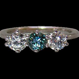 18K White Gold Diamond & Teal Diamond Ring