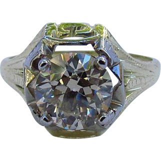 14K Gold Victorian 1.59 Carat Natural Fancy Orange Champagne Diamond Ring
