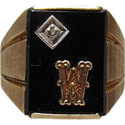 "Men's 10K Gold, Diamond, Black Onyx Initial ""M"" Or ""W"" Ring"