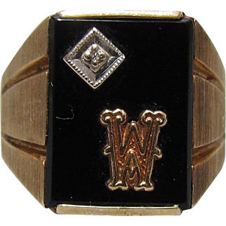 "Men's 10K Gold, Diamond, Black Onyx Initial ""M"" Or ""W"" Ring"