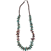 Kewa Santo Domingo Pueblo Turquoise & Purple Spiny Oyster Necklace