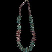 Kewa Santo Domingo Pueblo Turquoise & Purple Spiny Oyster Necklace