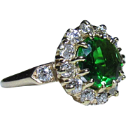 Art Deco Era 14K Gold, Tsavorite Garnet & Diamond Halo Ring