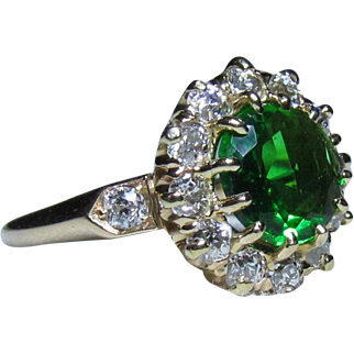 Art Deco Era 14K Gold, Tsavorite Garnet & Diamond Halo Ring
