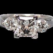 14K White Gold 1.5 CTW Radiant Cut Princess Diamond Ring
