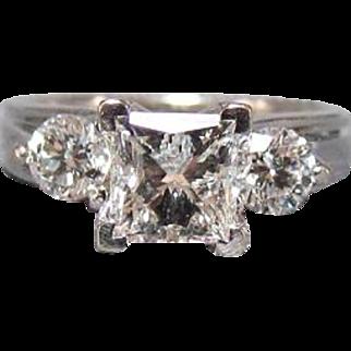 14K White Gold 1.5 CTW Square Radiant Cut Diamond Ring
