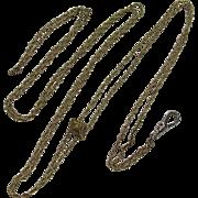 Victorian Low Karat Gold 54-Inch Chain With Slide