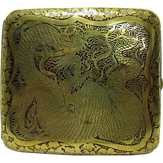 19th Century Chinese Brass & Lacquer Cigarette Cheroot Case Signed