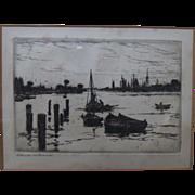 "Frank Weston Benson (1862 – 1951) Etching ""Harbor"" c1920"