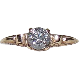 14K Gold Art Deco ½ Ct Diamond Solitaire Ring