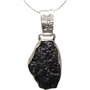Navajo Sterling Black Green Stone Pendant Sun Mark