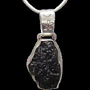 Navajo Sterling Black Green Stone Pendant Sun Mark