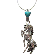 Navajo Sterling Rearing Horse & Turquoise Pendant