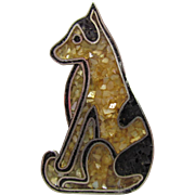 Navajo Sterling Seated Dog MOP Inlay Pendant EN