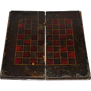 19th Century Book Style Wood & Leather Game Board