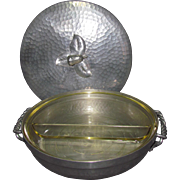 c1940s Shup Laird Argental Aluminum 10-Inch Casserole & Glasbake Insert