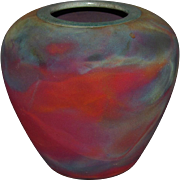 Les Mitchell Flash Fired Raku Vase Mineola Texas