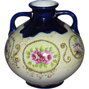 Late 1800s Hand Painted Porcelain Vase