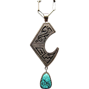 Roy Talahaftewa Hopi Sterling Silver & Kingman Turquoise Pendant & Chain