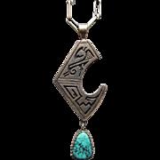 Roy Talahaftewa Hopi Sterling Silver & Kingman Turquoise Pendant & Chain
