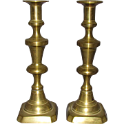 19th Century Solid Brass Push-Up Candlesticks