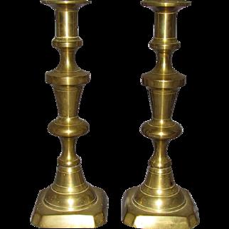 19th Century Solid Brass Push-Up Candlesticks