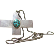 Sterling & Turquoise Native American Cross Pendant By Arvid