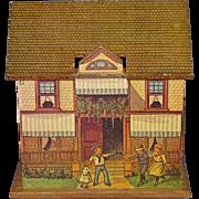 c1930s English Laminated Hardwood & Paper Litho Play House