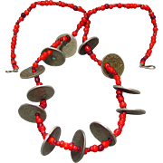 Old Guatemalan Coin & Trade Bead Chachal Necklace