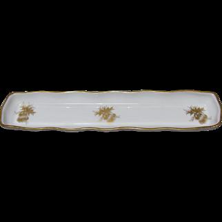 Vintage Limoges Gold Decorated Porcelain Pen Tray
