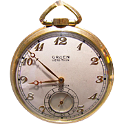 Art Deco Gruen Veri-Thin 17J Precision Pocket Watch 10K GF