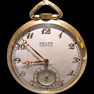 Art Deco Gruen Veri-Thin 17J Precision Pocket Watch 10K GF