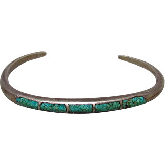 1970s Sterling Silver Navajo Turquoise Chip Bracelet