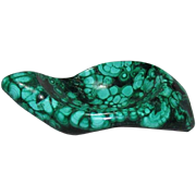 Malachite Free Form Carved Pin Dish