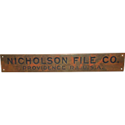 Nicholson File Co. Brass Factory Door Plaque Providence R.I.