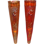 Two Dugan Diamond Glass Carnival Glass Woodpecker Car Vases c1920s