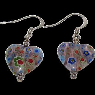 Glass Millefiori Heart Shape Earrings