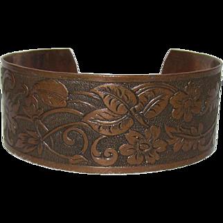 Floral Patterned Solid Copper Cuff Bracelet