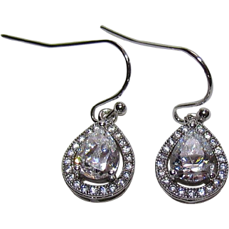 Lots Of Bling Without The Sting - Vintage Sterling Silver, & CZ Fashion Earrings