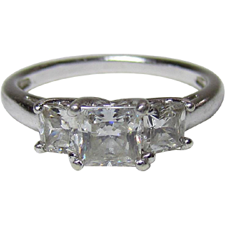 Lots Of Bling Without The Sting - Vintage Sterling Silver, & Radiant CZ Fashion Ring