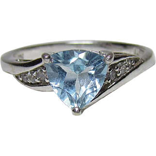 Lots Of Bling Without The Sting - Vintage Sterling Silver, Faux Topaz & CZ Fashion Ring