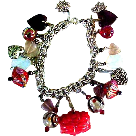 Old Sterling Silver Charm Bracelet-Sterling Hearts
