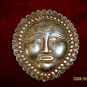 Fabulous Vintage Sterling Silver Pin/Pendant Mythical Face