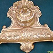 Art Nouveau Tulips Brass Inkwell-Brass Insert