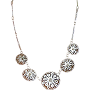 Vintage Mexican Silver Sombrero Filigree Necklace Unusual Lovely
