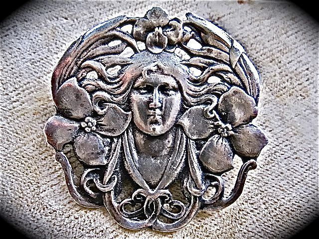 Art Nouveau Sterling Silver Pin/Pendant Woman Flowing Hair