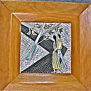 1950's Framed Strolling Couple Tile Signed Whedon Mid-Century
